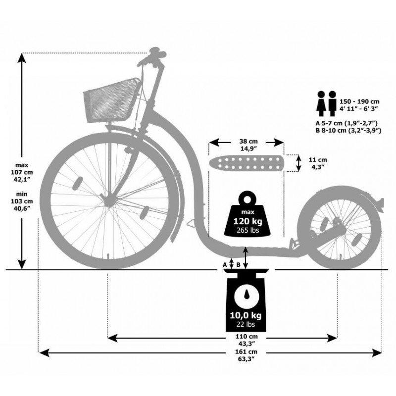 Kickbike city - wit - tekening