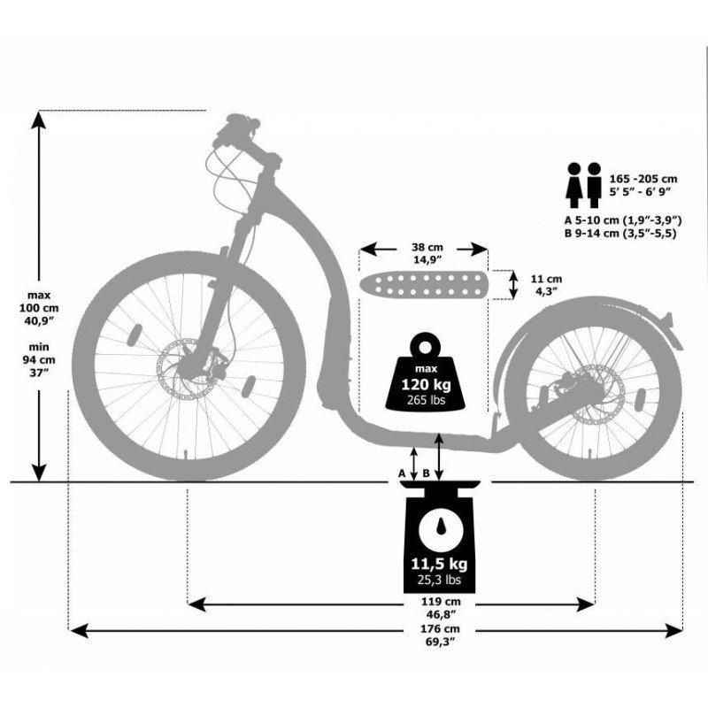 Kickbike Cross Max 20D aluminium - tekening